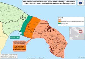 Mappa per la strategia di contenimento di Xylella